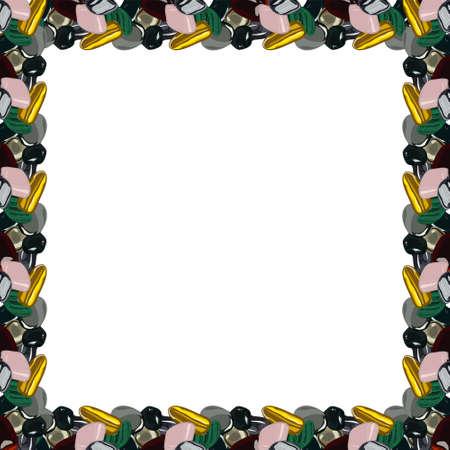 Frame with stones on white background.  illustration