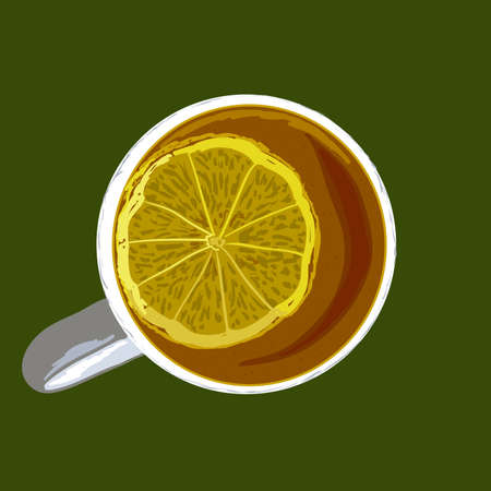 Cup with tea and lemon. illustration. Vetores