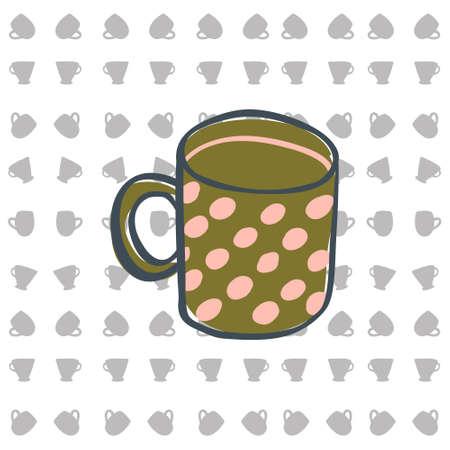 five o'clock: Cup for tea. Vector illustration. Vector pattern Illustration