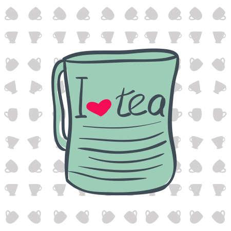 five o'clock: Cup for tea.  illustration. I love tea Illustration