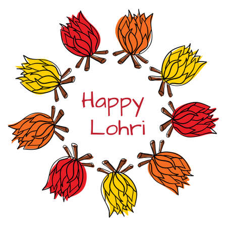 india culture: Happy Lohri pattern with bonfire. Happy Lohri Festival. Illustration