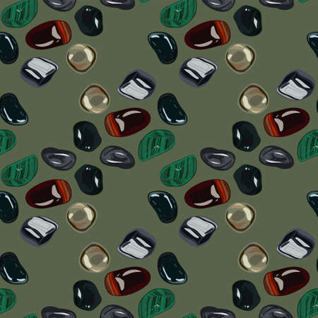 onyx: Pattern with stones in doodle style. Perfect for web, blog, textile, prints and other Illustration