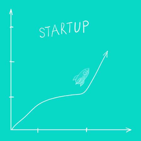 Doodle rocket. Startup concept.  illustration. Perfect for web, blog, textile, prints and other