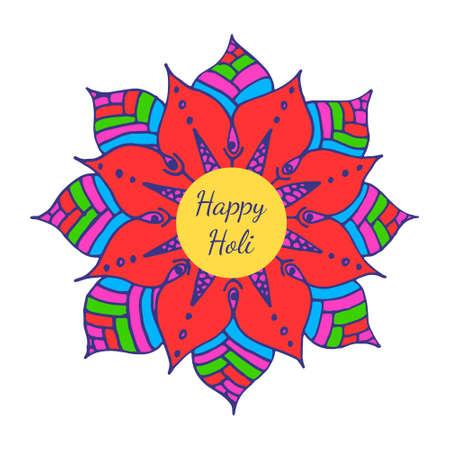 Happi Holi card with flower mandala. Indian festival