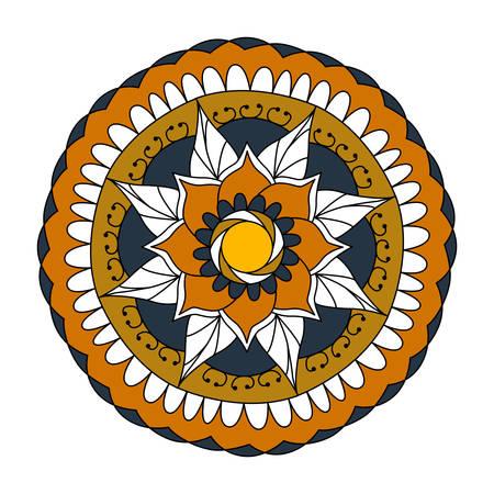 Hand drawn flower mandala for cards, invitations and medallion Illustration