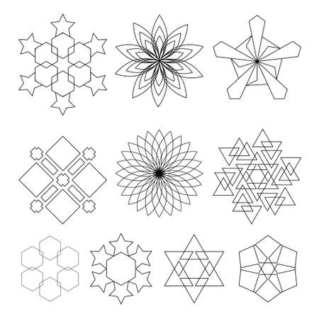 Sacred geometry symbols set in . Arabic pattern.