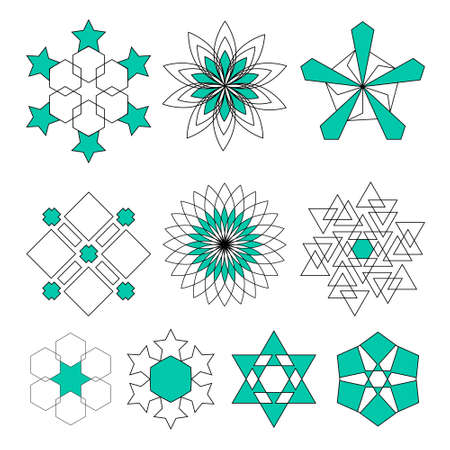Sacred geometry symbols set in . Arabic pattern background