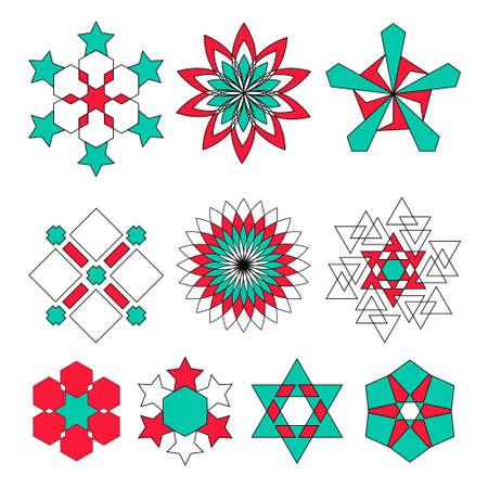 Sacred geometry symbols set in . Arabic pattern background