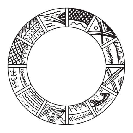 mayan prophecy: Old slavian calendar.  ilustration. Year calendar Illustration