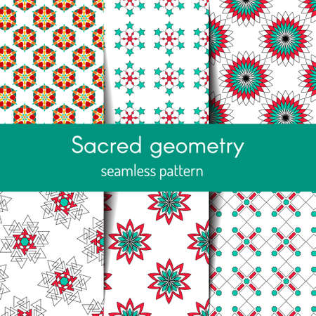 Sacred geometry pattern in . Arabic pattern backgrounds set. Perfect for cards, wedding invitations and wrapping paper Çizim
