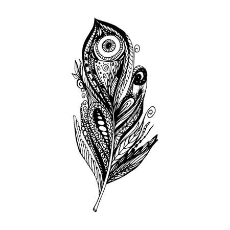 Doodle feather for t-shirt, coloring books and tattoo.  illustration