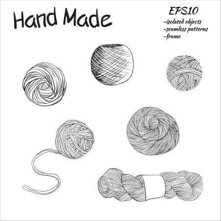 spun: Balls of yarn for knitting.  illustration. Yarn balls set Illustration