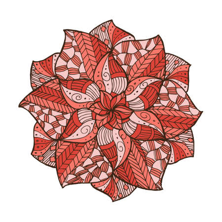 手描き花マンダラ カード、招待状と塗り絵  イラスト・ベクター素材