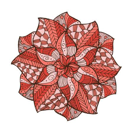Hand getekende bloemmandala voor kaarten, uitnodigingen en kleurboek Stock Illustratie