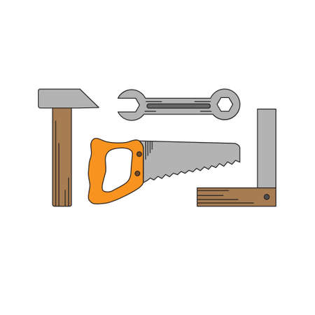Handymen tools in flat style.  illustration. Illustration