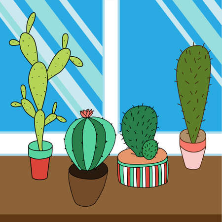 peyote: Cactus set on window in .  Perfect for web