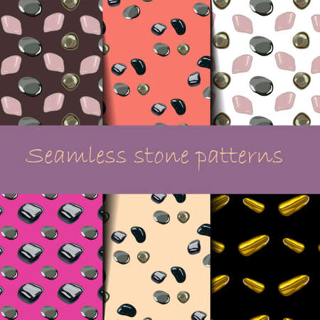Stones seamless patterns set in .