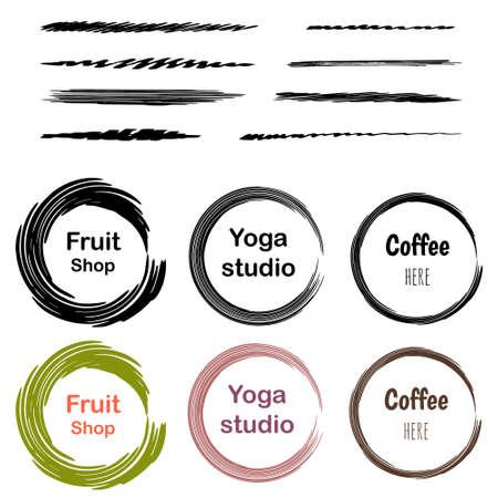 barbery: Set of 6 creative logo - for cafe, yoga studio, barbery shop, fruit shop, sound studio, music lab, organic fruit shop.  illustration. Isolated on white background and layered.  brushes