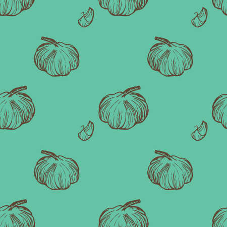 Hand drawn garlic seamless pattern in vector. Made by trace from personal hand drawn sketch.