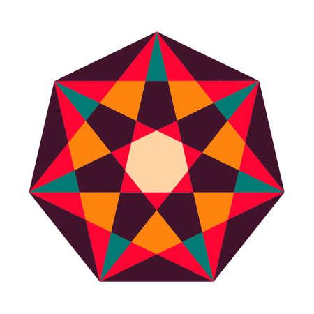 Sacred geometry symbol in . Arabic pattern background