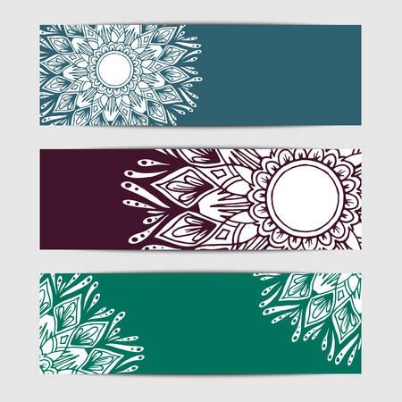 creation of sites: Banner with flower mandala in . Header design Illustration