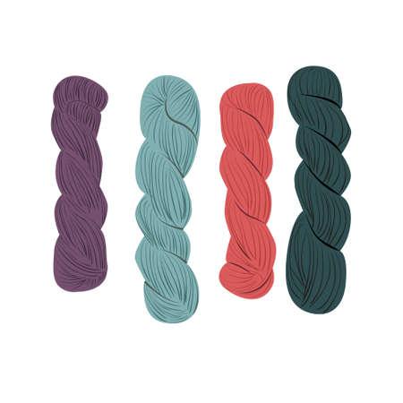 Balls of yarn for knitting. Rope making.   yarn balls set. Yarn balls from wool and angora. Knitting wool, knitting pattern, knitting background. Hand drawn yarn balls set