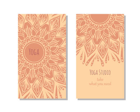 kundalini: Cards template for yoga studio or yoga class. Yoga retreat.  editable template with front and back side.