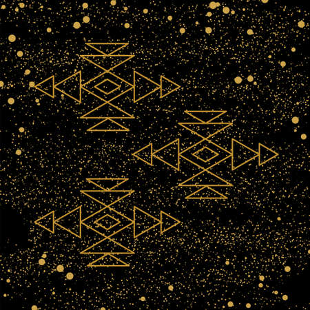 Aztec pattern elements on black background with golden dots for your design.  illustration. For cards, prints, textile.