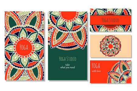 Cards template for yoga studio or yoga class. Yoga retreat.  editable template with front and back side visit cards and flyer. Yoga banner set for web.