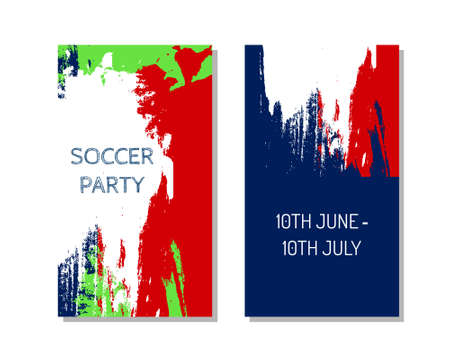 Concept  flyers for Euro 2016 France football championship with soccer ball and a French flag colors Illustration