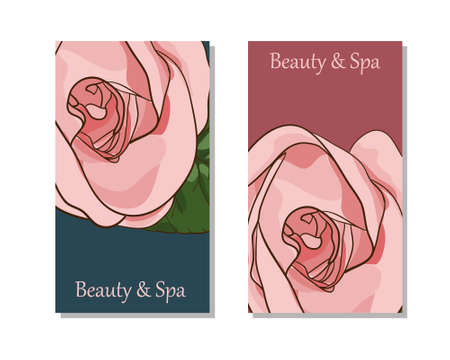 Modello di carte per salone spa. Studio di bellezza. Modello modificabile con lato anteriore e posteriore.
