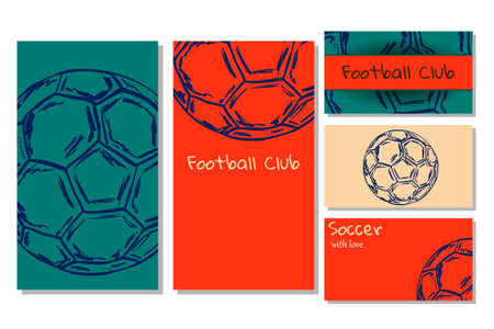 Concept  flyers and visit cards for football club with soccer ball.