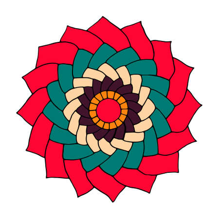 dcor: Flower mandala for cards, prints, textile and coloring books. Hand drawn illustration in