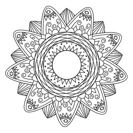 Ethnic flower mandala for cards, invitations and coloring book