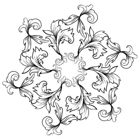 Baroque damask design frame. Vintage pattern in retro style.   illustration. Perfect for cards, background and print Illustration