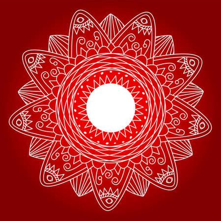 wood panel: Flower mandala - zentangle pattern. Perfect for laser cutting. Illustration