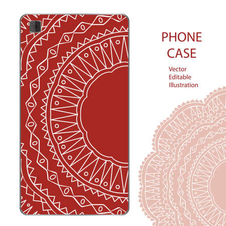 Phone case mockup with mandala in . Editable template for your design