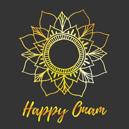 sravanmahotsav: Greeting card of Onam holiday. Color mandala on dark background.  illustration