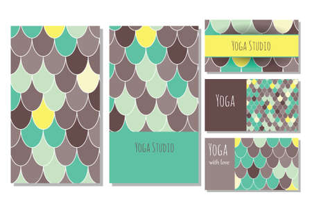 Cards template for yoga studio.   editable pattern with front and back side visit cards and flyer.  Moroccan Fish Scales Illustration