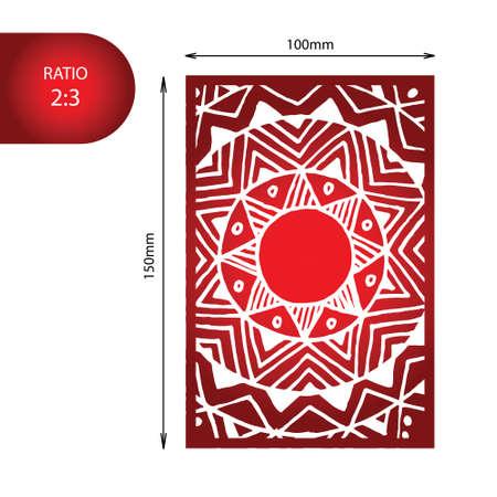 wood panel: Flower mandala wedding invitation - hand drawn zentangle pattern. Perfect for laser cutting. Illustration