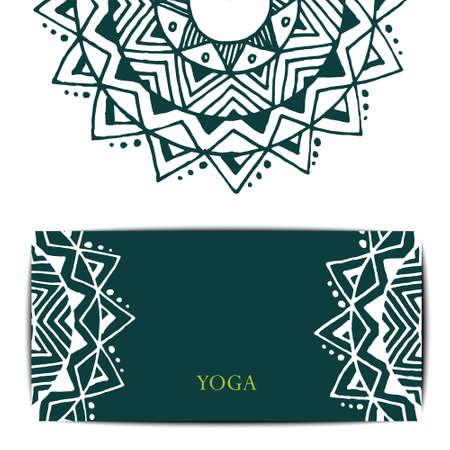 kundalini: Gift card template for studio or class yoga retreat.  editable pattern