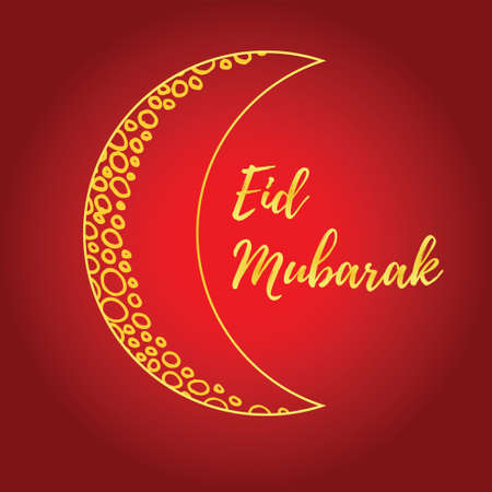 Greeting card of Eid Mubarak holiday. Golden moon on red background.  illustration Illustration