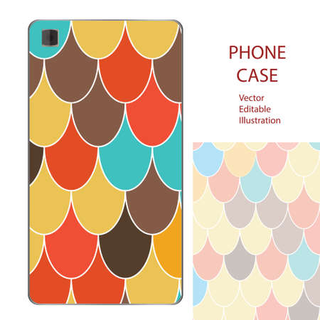 Phone case mockup with Moroccan Fish Scales in . Editable template for your design Illustration