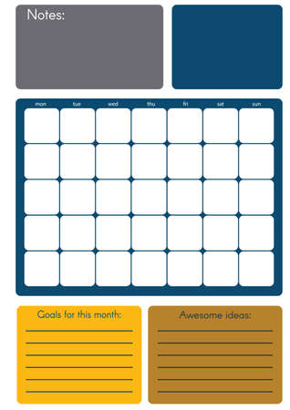 calendar icon: Monthly planner in . Editable template.