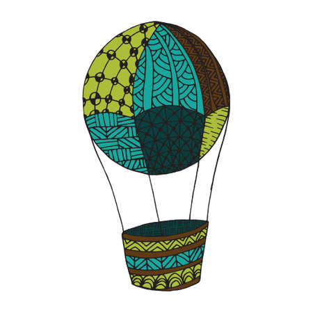Doodle airballoon -  style. For coloring book