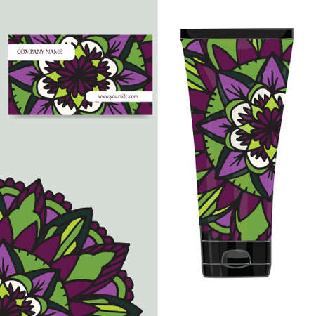 ingridients: Cream tube pattern with mandala.  illustration. Visit card, packaging for organic cosmetic, medallion