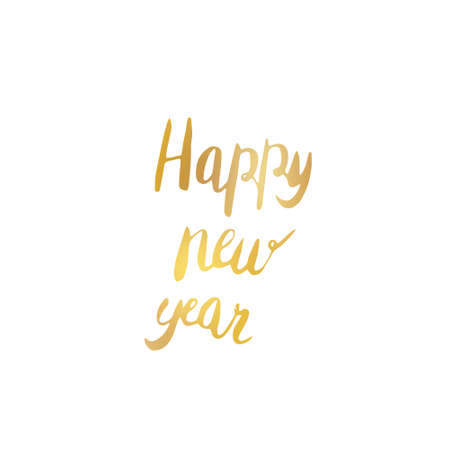 happy new year text: Creative poster with golden lettering. Hand drawn.  illustration. Happy new year Stock Photo