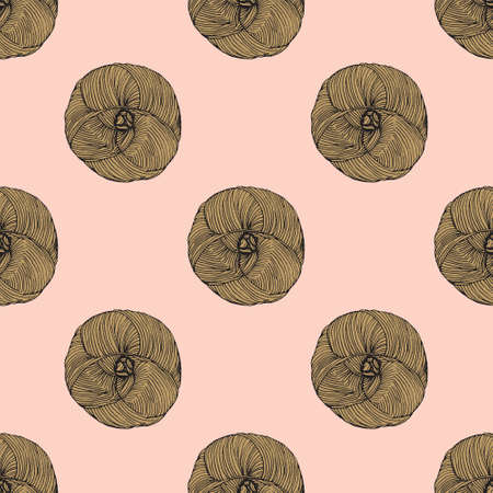 yarn ball seamless pattern. Perfect for textile or wrapping paper Stock Photo