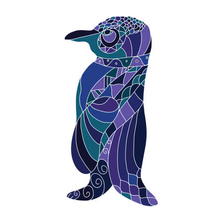 Coloring book page with doodle pinguin.  illustration