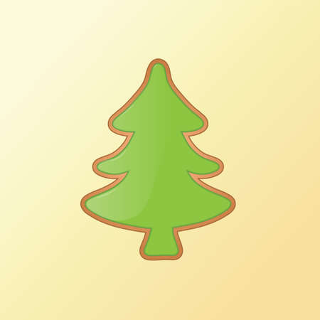 gingerbread: Christmas tree cookie for happy holidays in winter.  illustration